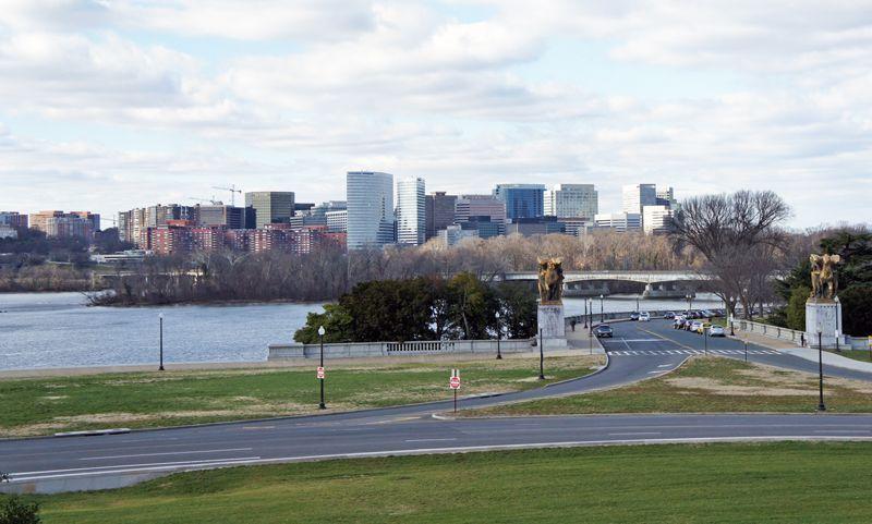 Panoramic view of Rosslyn, Arlington, VA, from Lincoln Memorial