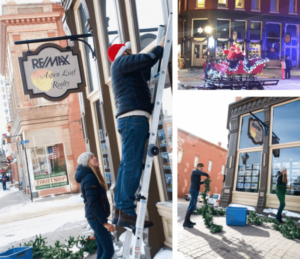 Three pictures of people putting Christmas decorations on the outside of a building with big windows